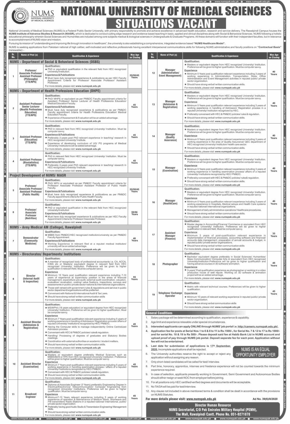 Latest National University of Medical Sciences NUMS Jobs 2020