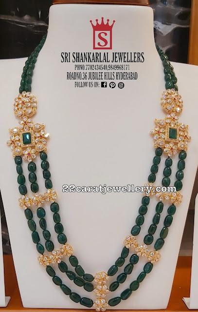 Polki Stones Green Beads Set by Shankarlal