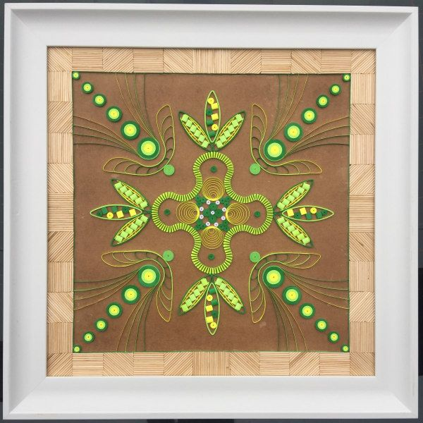 geometric quilled design with bamboo skewer framed border