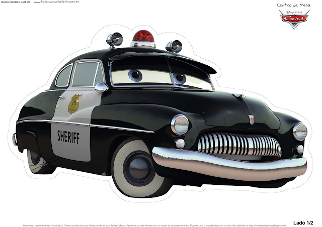 Sheriff of Cars: Free Printable Table Centerpiece.