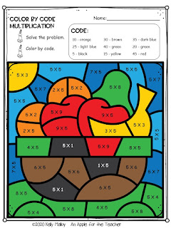 Kwanzaa color by number multiplication fruit bowl color
