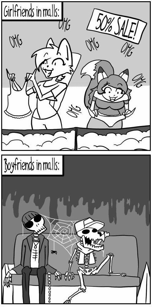 Funny Girlfriends Boyfriends Shopping Malls Sale Cartoon Joke Picture