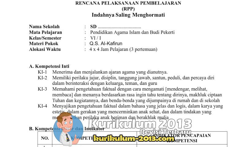 Download Contoh RPP K13 SD-MI Kelas 1-6 Mata Pelajaran PAI