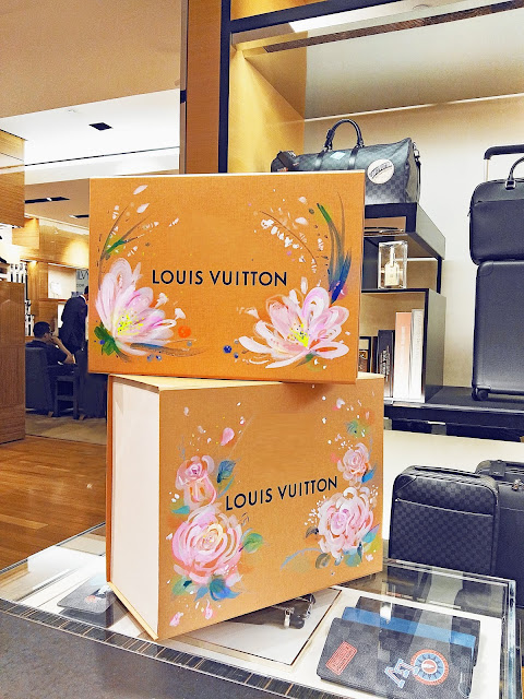 Louis Vuitton luxury goods packaging, custom arts flowers by Ben Liu, Montreal artist and fashion illustrator