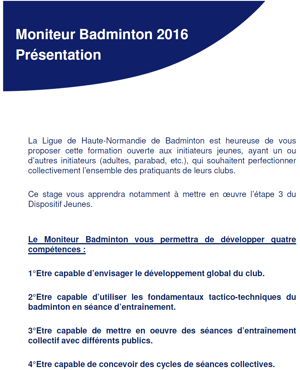 Formation Amt Ligue Normandie Ligue De Haute Normandie De Badminton Formation Moniteur