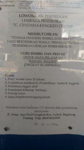 Lowongan Kerja di Padang – Guru Bimbel