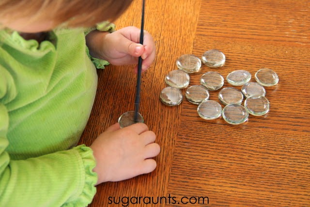Creating your own colored glass gems is a great activity for kids
