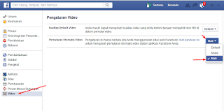 Halaman Pengaturan video Facebook