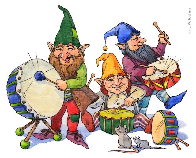 dibujo de tres gnomos tocando instrumentos musicales