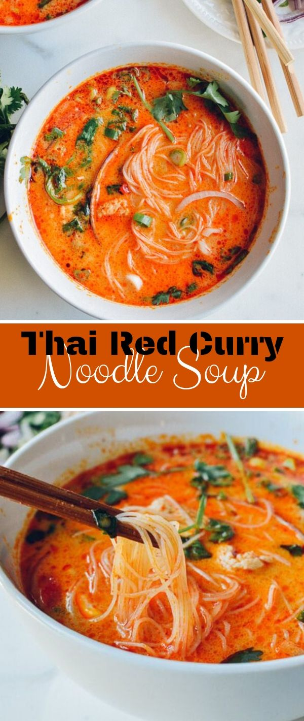Thai Red Curry Noodle Soup #Thai #Red #Curry #Noodle #Soup Healthy Recipes Easy, Healthy Recipes Dinner, Healthy Recipes Best,