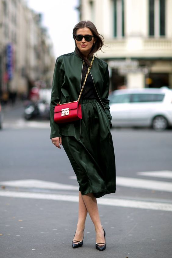 emerald green and red colour combo outfit