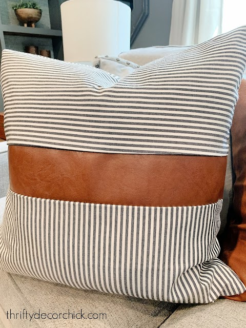 stripe and leather pillow cover