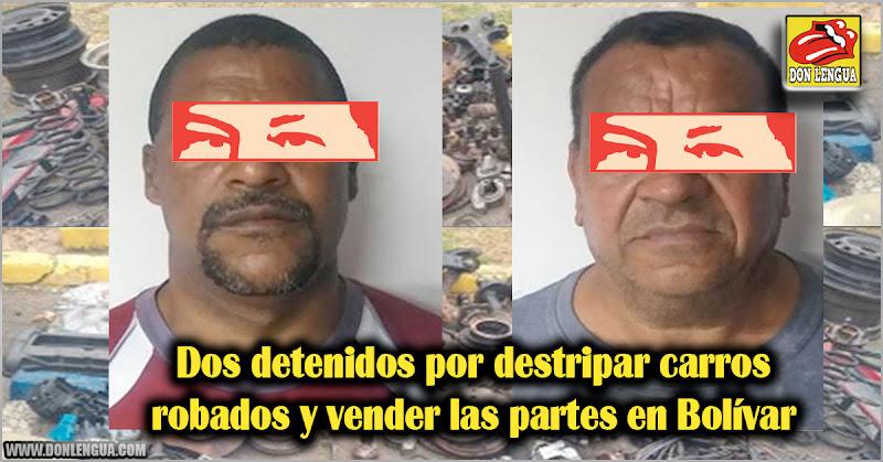 Dos detenidos por destripar carros robados y vender las partes en Bolívar