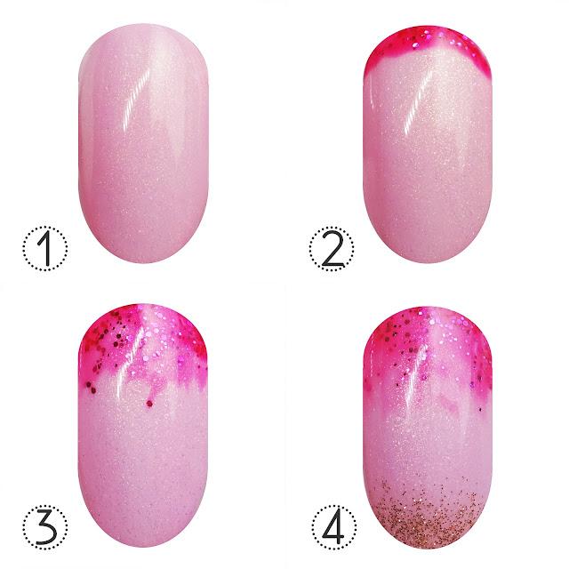 Pink Gellac glitter gradient