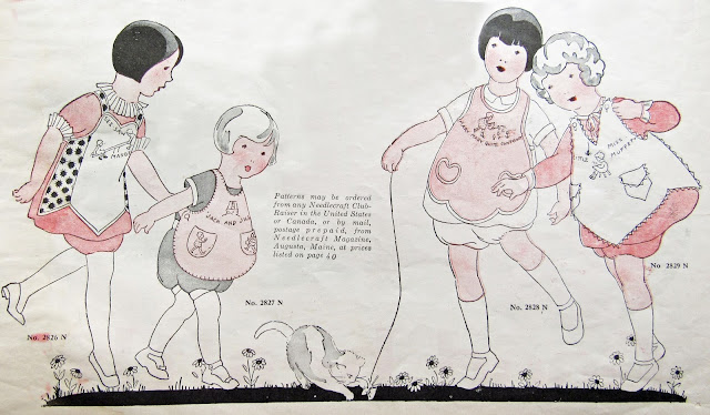 embroidered children's aprons 1925 Needlecraft Magazine October 1925