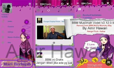 NEW BBM Tema Muslimah Violet Color New V.2.12.0.9 APK
