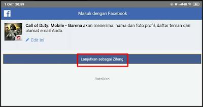 Menginjinkan COD Mobile untuk terkait dengan akun facebook