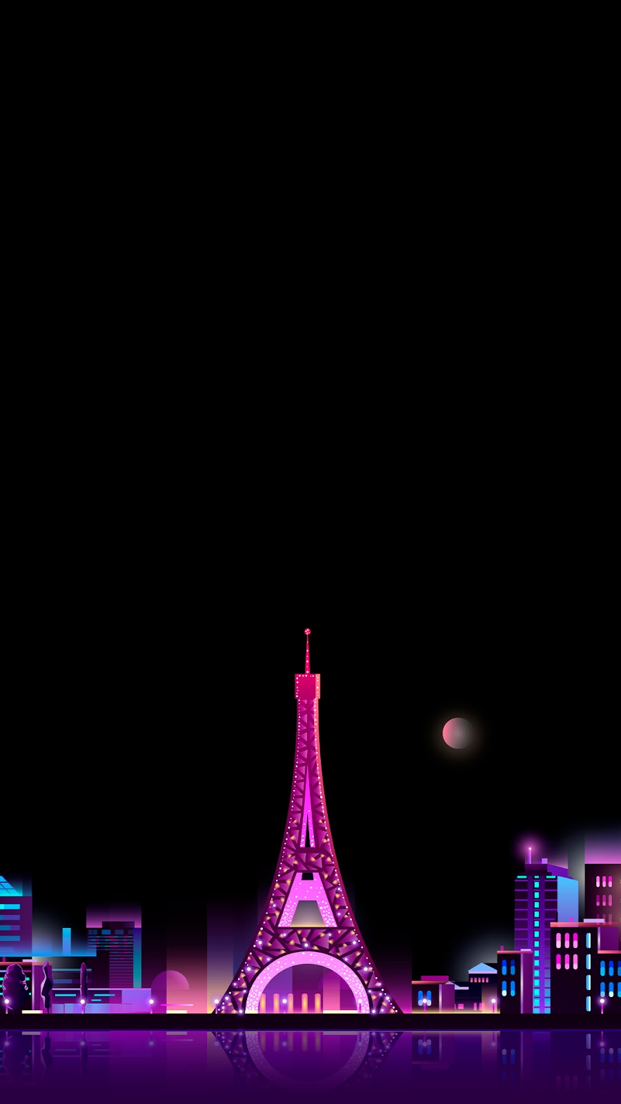 Wallpaper Hd Amoled Eiffel Tower