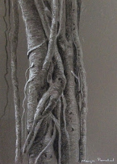 Original charcoal and white pastel painting of a tree trunk by Manju Panchal