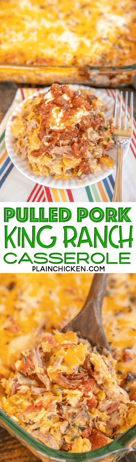 collage of pulled pork king ranch casserole