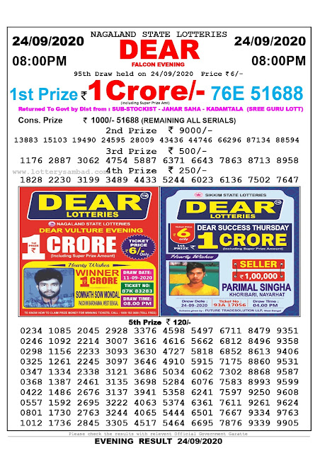 Lottery Sambad Result 24.09.2020 Dear Falcon Evening 8:00 pm