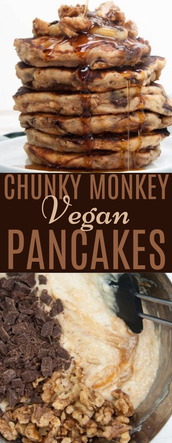 Vegan Chunky Monkey Pancakes #vegan #breakfast