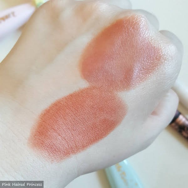 swatches blended on back of hand of clarins milky mousse lips and mac matte lip mousse