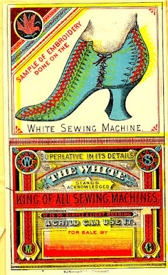 Fancy blue ladies' shoe with red and yellow embroidery at top, colorful ad copy below