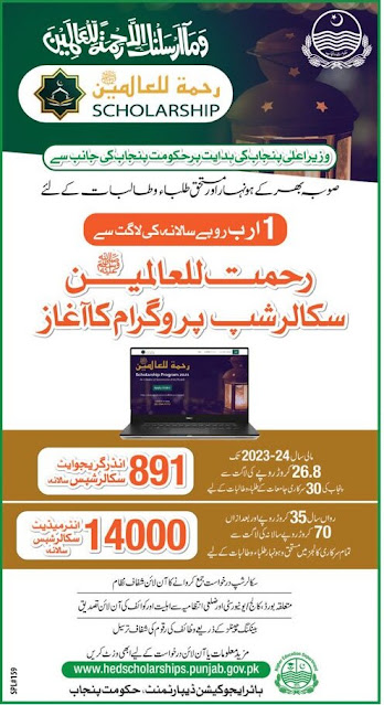 Govt of Punjab Rehmat ul Alameen Scholarships Program 2021 Apply Online