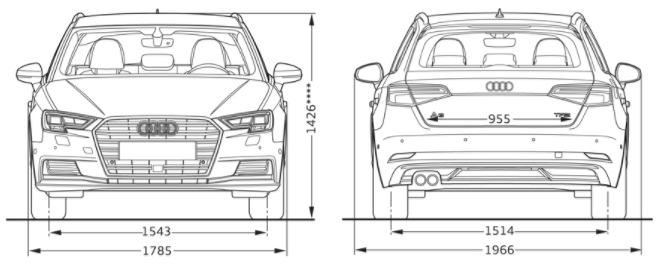 Comparing Audi A3 MK3 Sportback and Lotus Evora Dimensions