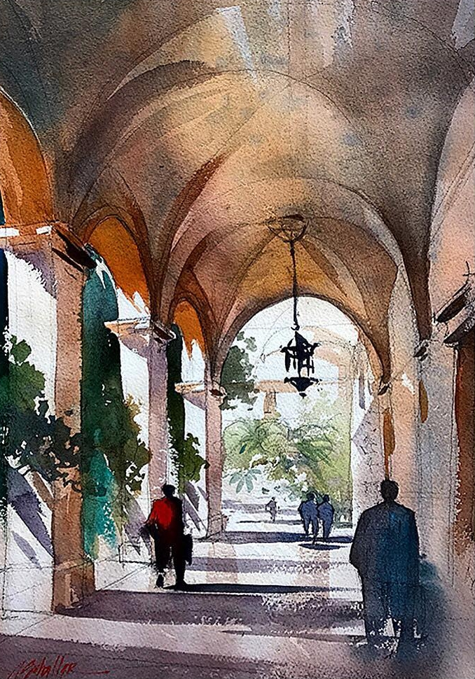 04-Palazzo-San-Marco-Rome-Italy-Thomas-Schaller-Watercolor-Paintings-Indoors-and-Outdoors-www-designstack-co