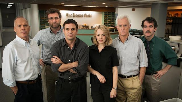 El reparto de la película, de izquierda a derecha: Michael Keaton, Liev Schreiber, Mark Ruffalo, Rachel McAdams, John Slattery y Brian d'Arcy James
