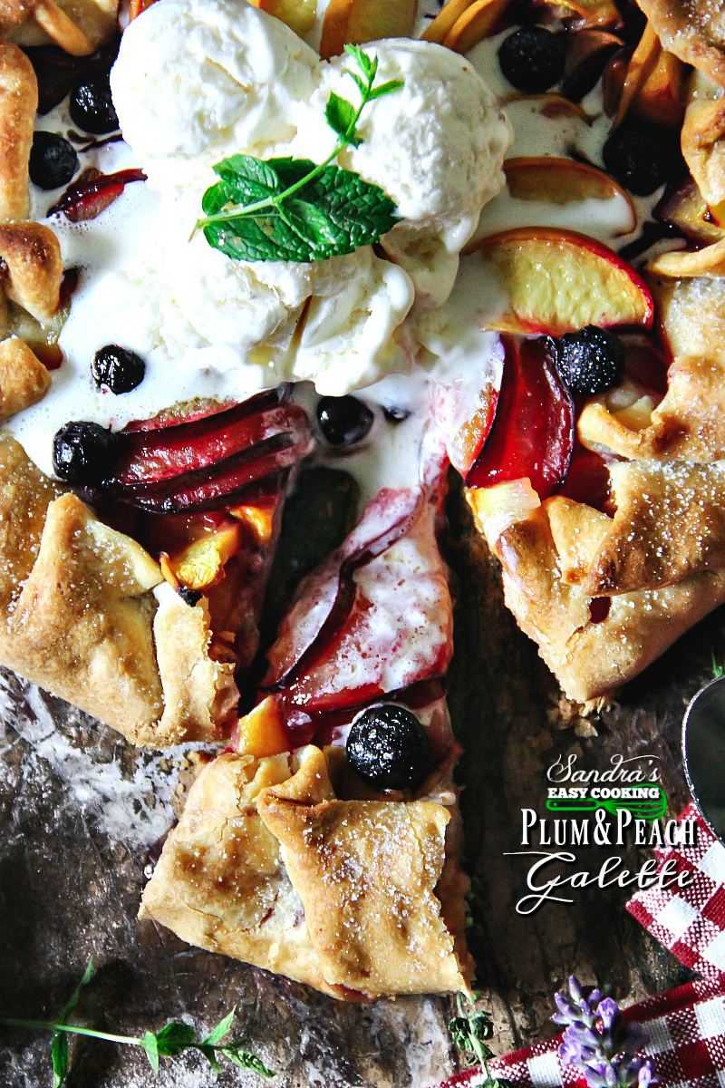 Simple and very delicious #recipe for Plum and Peach Galette - For more recipes, videos and meal ideas, visit my blog Sandra's Easy Cooking http://www.sandraseasycooking.com/