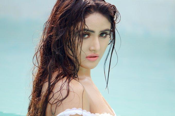 Model Sony Charishta Hot Wet Photo Shoot In White Dress
