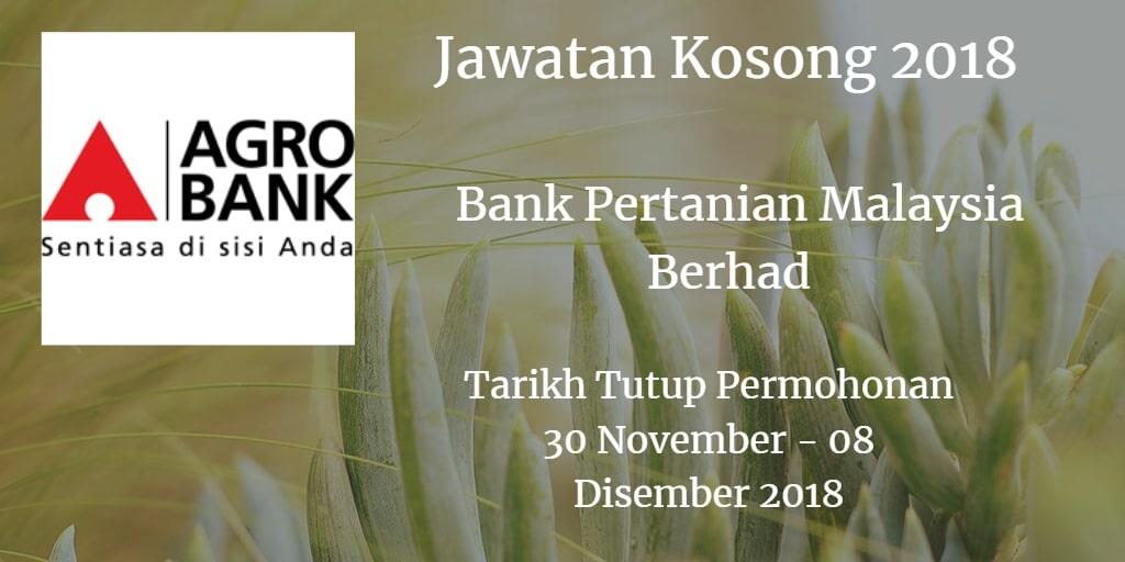 Jawatan Kosong Agrobank 30 November - 08 Disember 2018