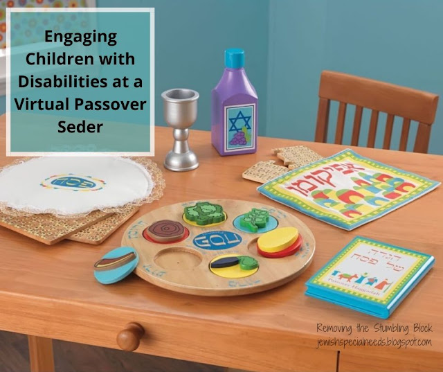 table set with children's seder objects such as a wooden seder plate, wooden matzah pieces and more. Includes the words Engaging Children with Disabilities at a Virtual Passover Seder