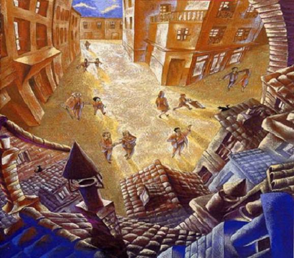ilustración del relato Un sueño redondo, de J. C. Chadro. Se ve un pequeño con gente en sus calles donde todos parecen conocerse.