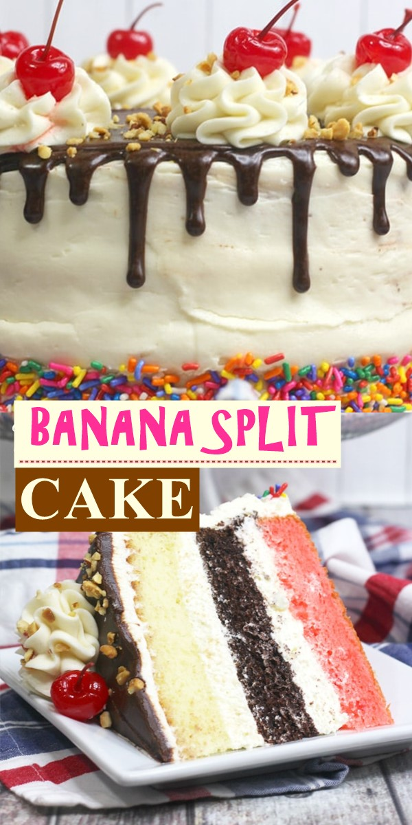 BANANA SPLIT CAKE #Cakerecipes