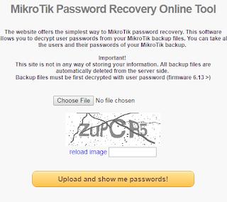 MIKROTIK PASSWORD RECOVERY