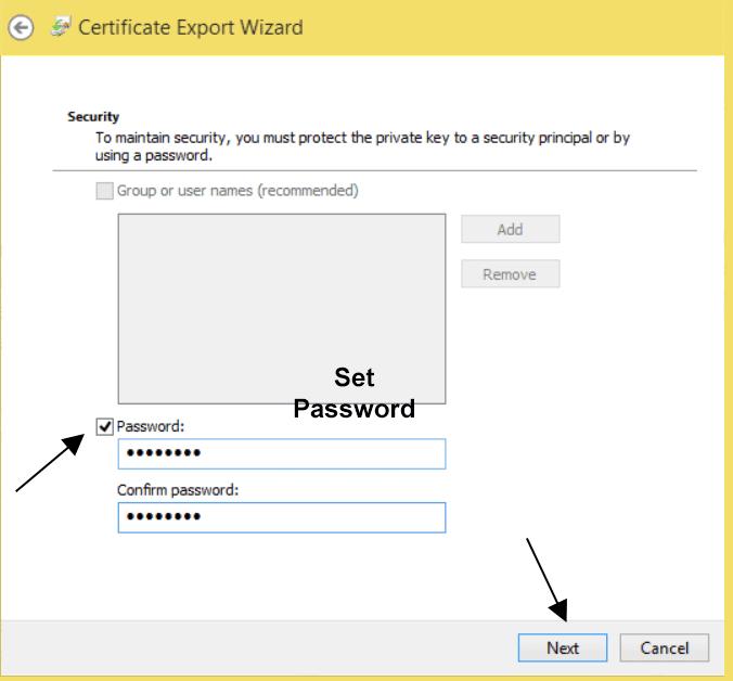 Entering Password