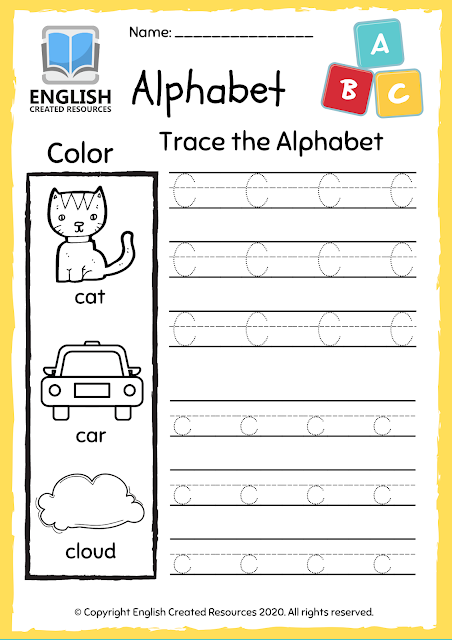 Alphabet A-Z Worksheets Tracing and Colouring Book