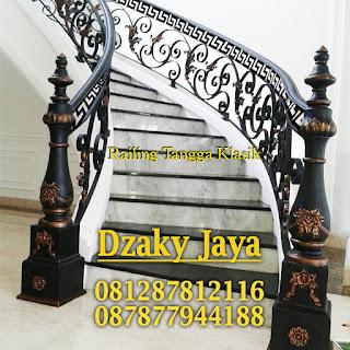 Contoh model railing tangga besi tempa Dzaky Jaya.