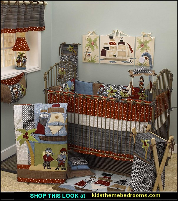 Pirate's Cove 4-piece Crib Bedding Set  pirate bedroom decorating ideas - pirate themed furniture - nautical theme decorating ideas - pirate theme bedroom decor - Peter Pan - Jake and the Never Land Pirates - pirate ship beds - boat beds - pirate bedroom decorating ideas - pirate costumes
