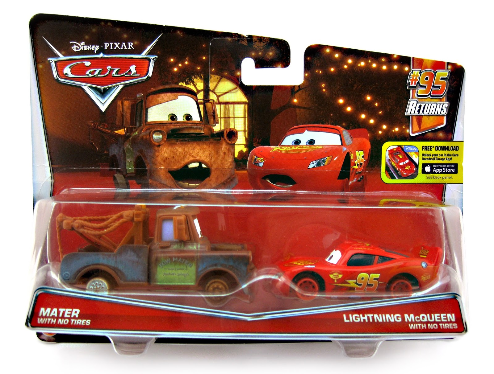 Dan The Pixar Fan Cars 2 Mater Lightning Mcqueen With No Tires 2 Pack