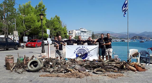 800 κιλά απορρίμματα έβγαλαν από το λιμανι του Τολού εθελοντές δύτες