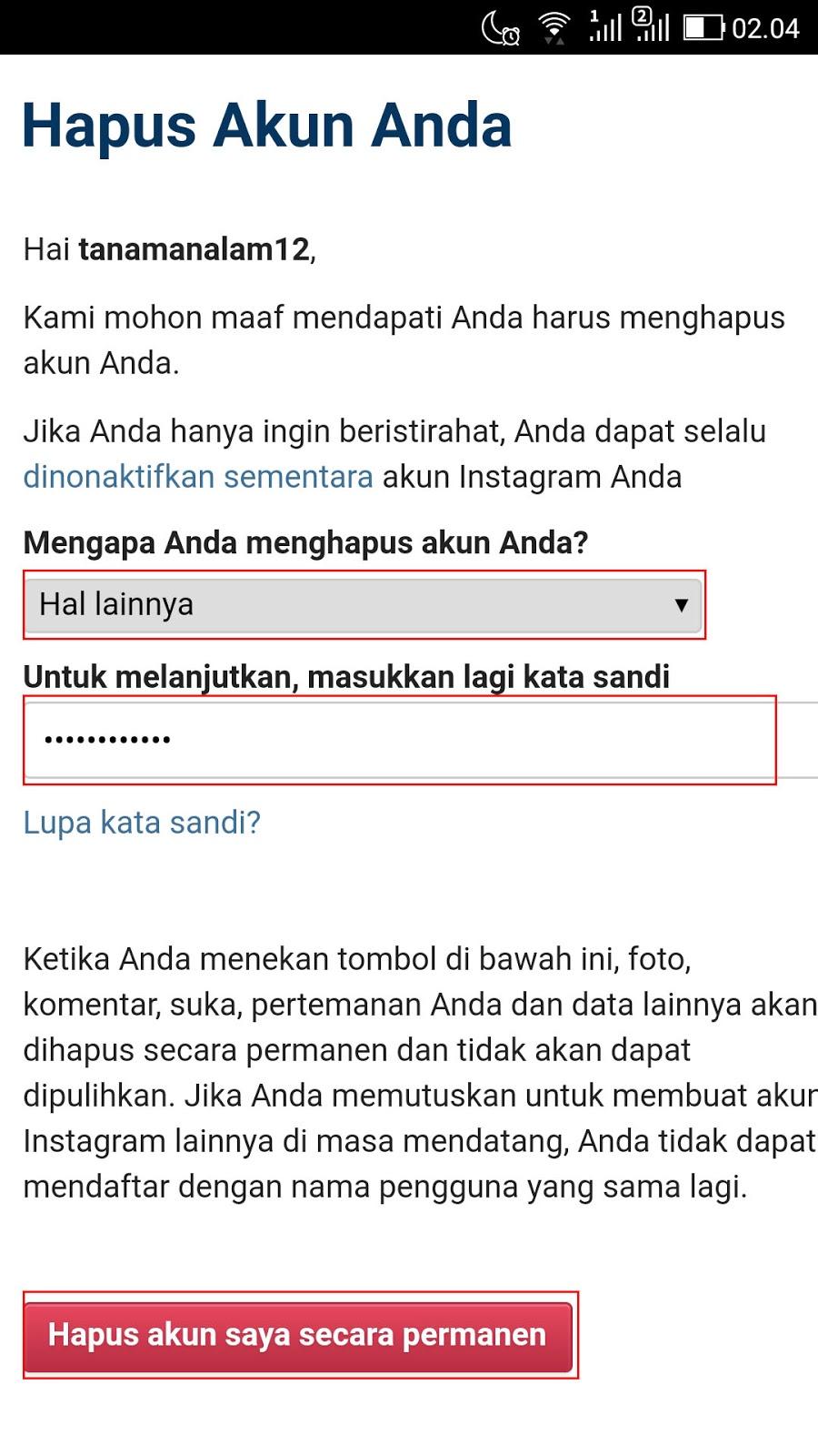 Cara Menghapus Akun Instagram Permanen di HP 2