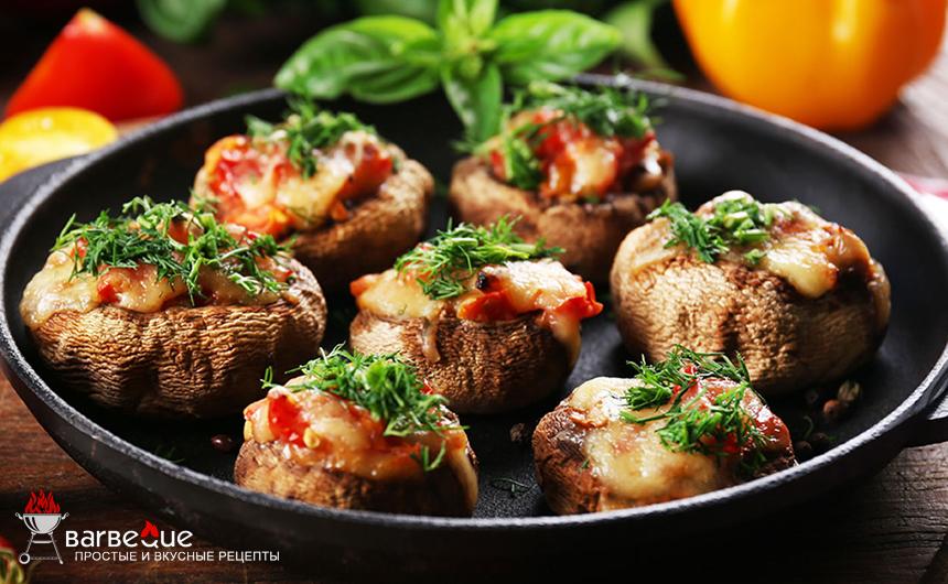 Овощи-гриль с фаршированными шампиньонами