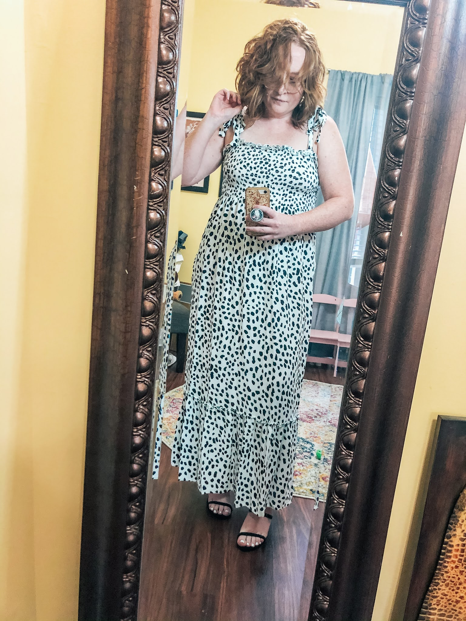 dalmation-polka-dot-tie-strap-maxi-dress