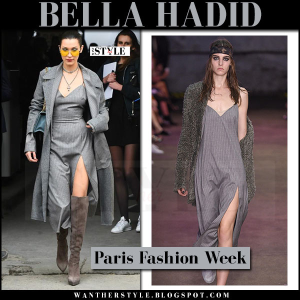 Bella Hadid in grey pinstripe midi dress baja east and brown suede boots giuseppe zanotti what she wore paris fashion week streetstyle