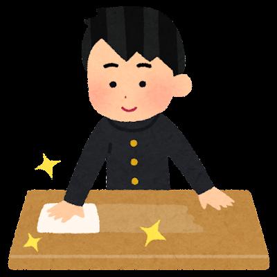 テーブルを拭く人のイラスト(男子学生)